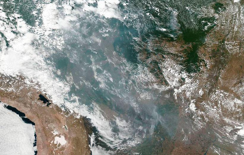تصویر ماهواره ای از آتش سوزی گسترده در جنگل های آمازون