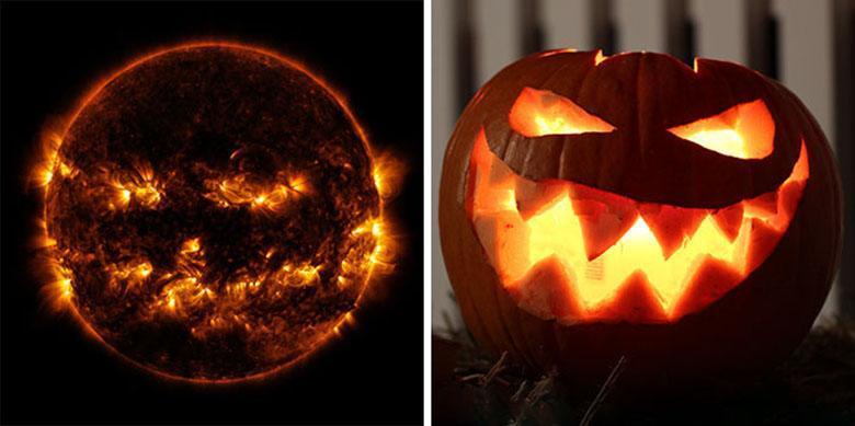 ناسا تصویری از خورشید منتشر کرد که شبیه عکس های کدو تنبل جشن های هالووین است!